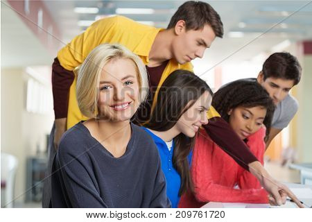 Group students happy female young smiling women