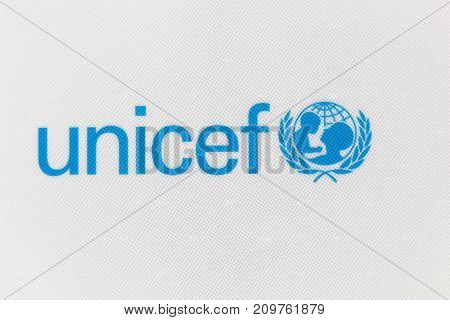 Villefranche,  France - June 11, 2017: Unicef logo on a panel. Unicef is a United Nations programme headquartered in New York City that provides humanitarian and developmental assistance to children and mothers in developing countries
