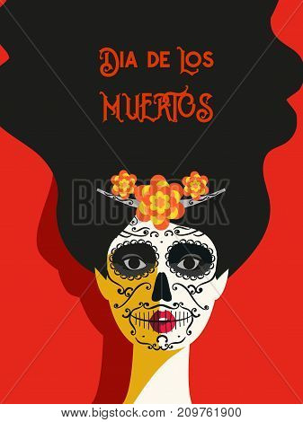 Mexican Dia de los Muertos. Day of the Dead Woman with Sugar Skull Face tattoo. Traditional holiday in Mexico. Flat colorful style. Vector design festive banner with Cavalera Catrina background