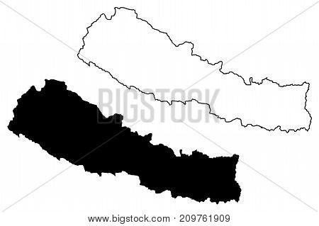 Nepal map vector illustration , scribble sketch Nepal