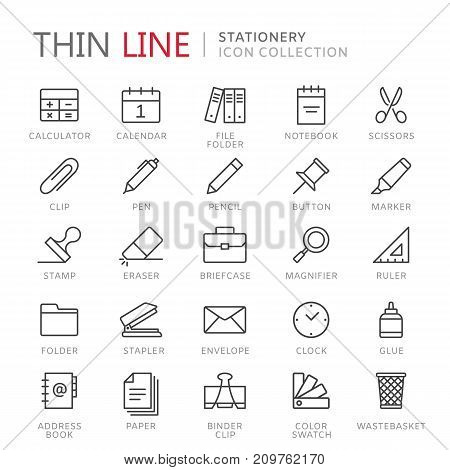 Collection of stationery thin line icons. Vector eps 10