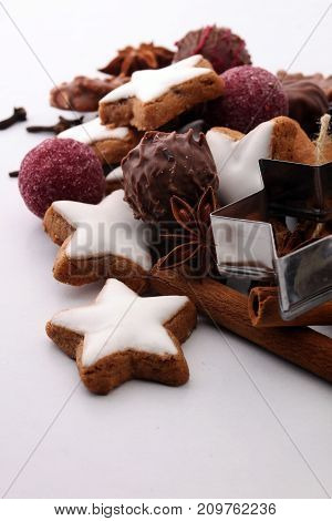 Baking christmas cookies. chocolate cinnamon stars and spices