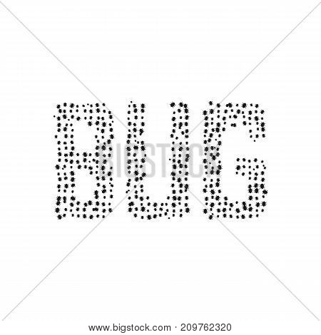 black simple bug text. concept of sick, microbes, ransomware, biology, insectology, worm, buggy, mistake, fault application. flat style trend modern logo design vector illustration on white background