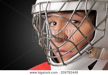 Male helmet player hockey ice hockey close up young adult