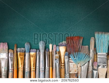 Row art paint artistic artist brushes green