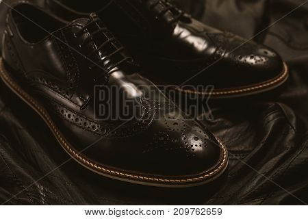 close up of male Fashion black shoes