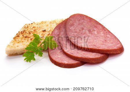 Smoked Sausage Salami Isolated On White Background