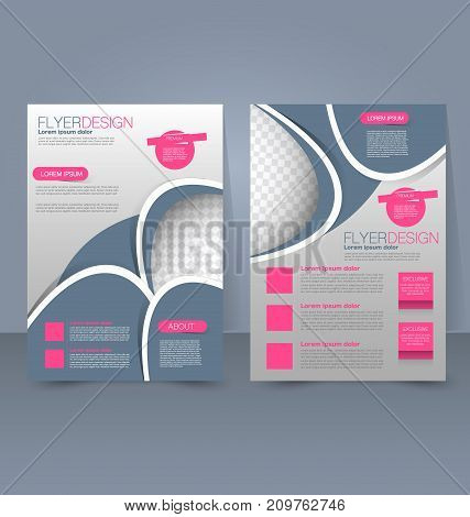 Flyer template. Business brochure. Editable A4 poster for design education, presentation, website, magazine cover. Pink, grey and silver color.
