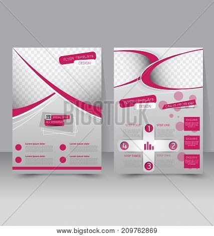 Flyer template. Business brochure. Editable A4 poster for design education, presentation, website, magazine cover. Pink color.