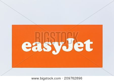 Lyon, France - May 27 2017: Easyjet logo on a wall. Easyjet is a British airline, operating under the low-cost carrier model, based at London Luton Airport