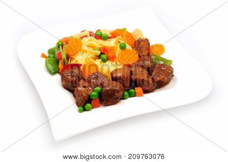 Goulash, Beef Stew With Pasta Isolated On White Background