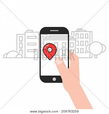geo location service mobile app. concept of ar, house tag, popular journey, explore, market, catch, tracking, adventure. flat style trend modern logo design vector illustration on white background