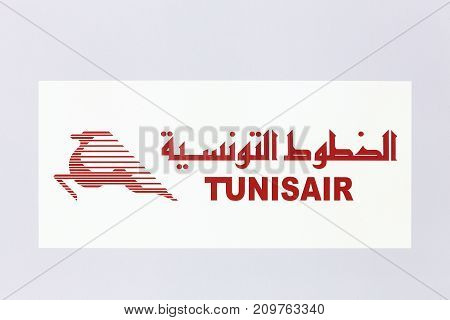Lyon, France - May 27 2017: Tunisair logo on a wall. Tunisair is the flag carrier airline of Tunisia