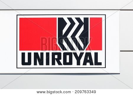 Macon, France - June 20, 2017: Uniroyal logo on a wall. Uniroyal is an American manufacturer of tires and other synthetic rubber-related products