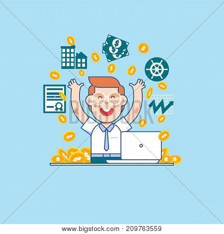 Young successful businessman.Money bills fall to the joyful businessman. Vector illustration of a flat design