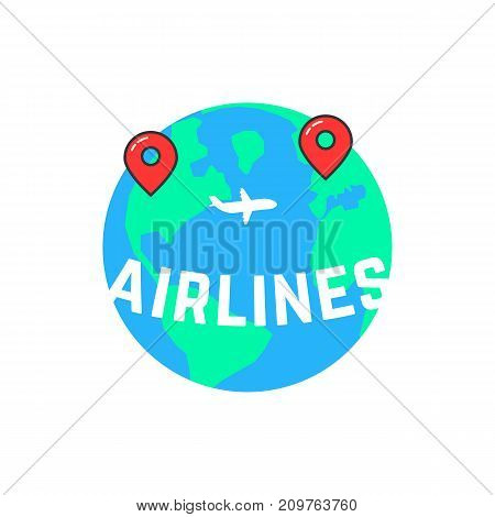 airlines like build a route. concept of vessel mark, voyage, direction, ocean, airliner, jetliner, passage, marker. flat style trend modern logotype design vector illustration on white background