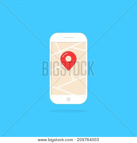 smart phone with pin and shadow. concept of mapping, roadmap, trip, urban path, online tour, gadget, ride, device. flat style trend modern logo graphic design vector illustration on white background
