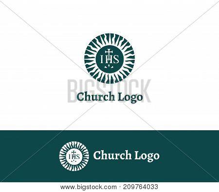 Church logo. Christian symbols. Crown of Thorns. Jesus saved me
