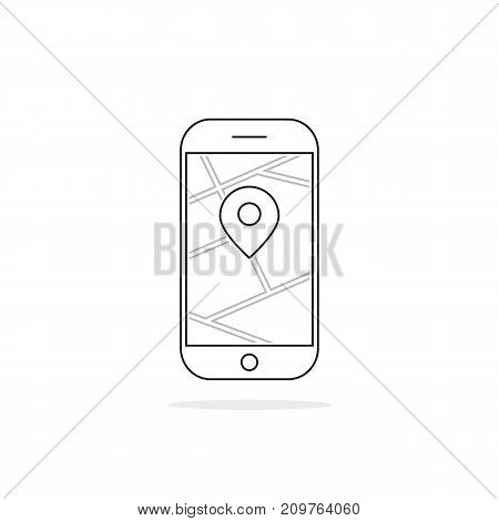 thin line black phone with pin. concept of mapping, roadmap, trip, urban path, online tour, gadget, ride, device. flat style trend modern logo graphic design vector illustration on white background