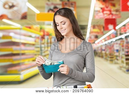 Woman consumerism discount package retail sale buy