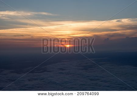 Beautiful view of the sunset from the airplane