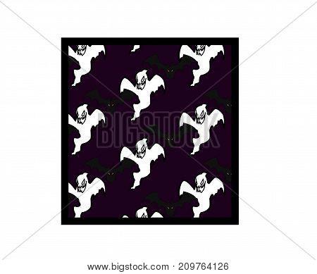 Halloween pattern black bats, white ghost on violet background