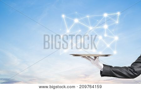 Cropped image of waitress's hand in white glove presenting white social media network structure on metal tray with cloudy skyscape on background. 3D rendering.