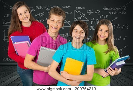 Group books students background happy female young