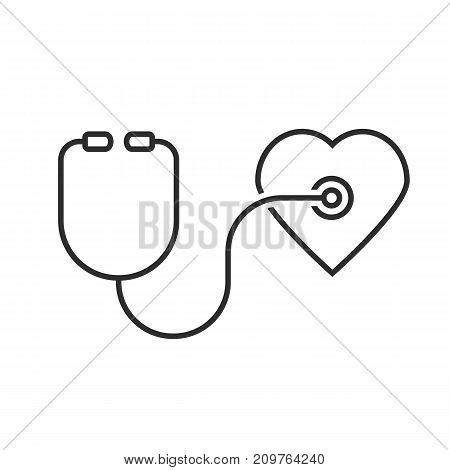 thin line stethoscope heart. concept of emergency, first aid, hear cardiac, cure, healthy, illness, nursing human. outline style trend modern logotype design vector illustration on white background