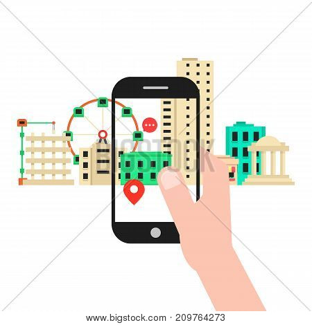 colored augmented reality with cityscape. concept of vr, search, find trip, simulation, mobility, travel, additional vision. flat style trend modern design vector illustration on white background