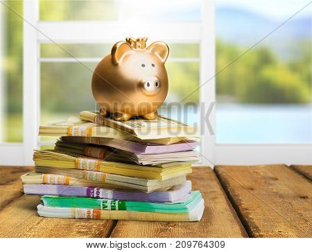 Bank pig banknotes piggy background money small