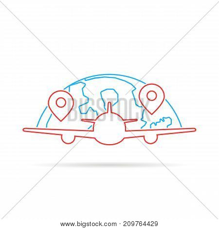 thin line airplane like travel. concept of travelling, aeroplane, airship takeoff, tourism, voyage label. flat linear style trend modern logotype graphic design vector illustration on white background