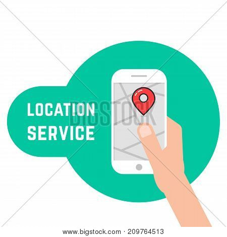 hand holding phone like location service. concept of cartography, mapping, geolocation, track, traffic, check trip. flat style trend modern logo graphic design vector illustration on white background