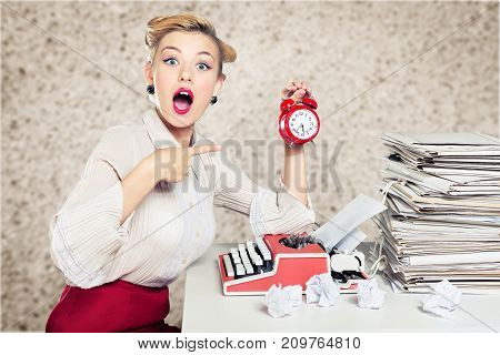 Clock woman alarm shocked young adult typing machine red