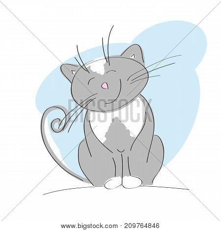 Smiling happy gray cat - original hand drawn illustration