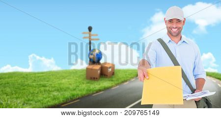 Portrait of postman delivering letter against road leading out to the horizon