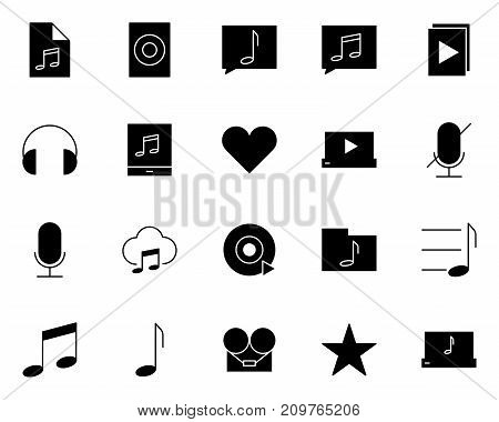 Music audio silhouette icons set.  96x96 for Web Graphics and Apps.  Simple Minimal Pictograms. Vector