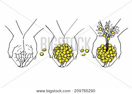 Concept of wealth. Money in the hands. The tree grows out of money in the hands. Hand drawn business illustration.