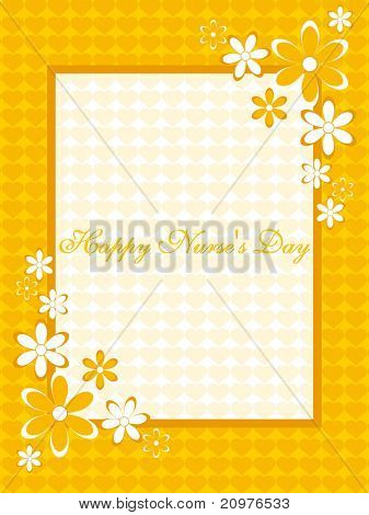 yellow heart pattern, bloom corner background card for nurse's day celebration poster