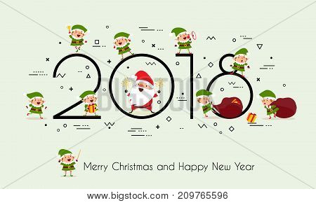 2018 year. Merry Christmas and Happy New Year. Creative headline with Santa Claus Christmas elves and gifts. Memphis style. Minimalism. Isolated on a monophonic background. Vector illustration