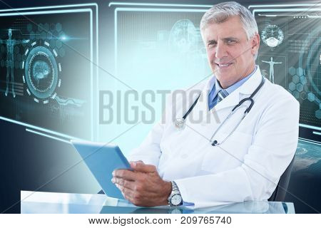 Portrait of confident male doctor using digital tablet against composite 3D image of different application interface