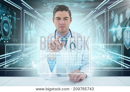 Doctor using digital 3D tablet against white background against composite image of different application interface