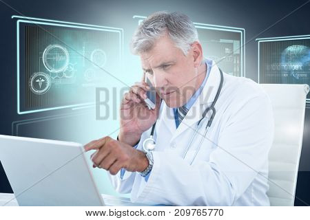 Male doctor pointing at laptop while using mobile phone against composite 3D image of different application interface