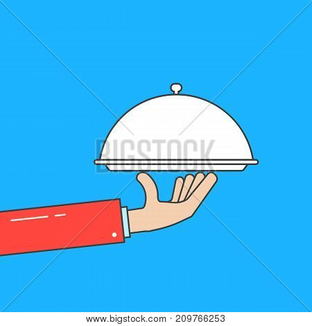 waiter holding linear dish. concept of bon appetit, gastronomy, dine, waitress, culinary, deliver, meal, marketing, job. flat style trend modern graphic design vector illustration on white background