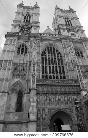 An exterior view of Westminster abbey in London