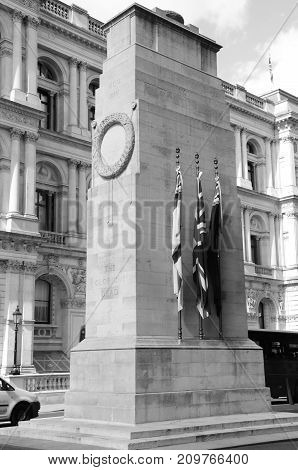 A view of the cenotaph war memorial in central London