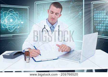 Male doctor writing while sitting by desk against composite 3D image of different interface