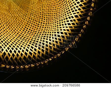 This is the pattern of handmade Woven wood lamps to decorated on the ceiling light spotting. This is the art of culture in Asia.