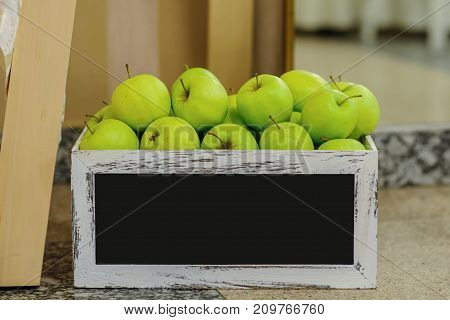 Box Full Of Fresh Green Apples