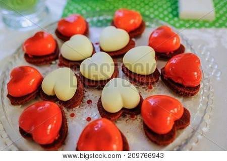 Valentine Red And White Cookies With Heart Shape